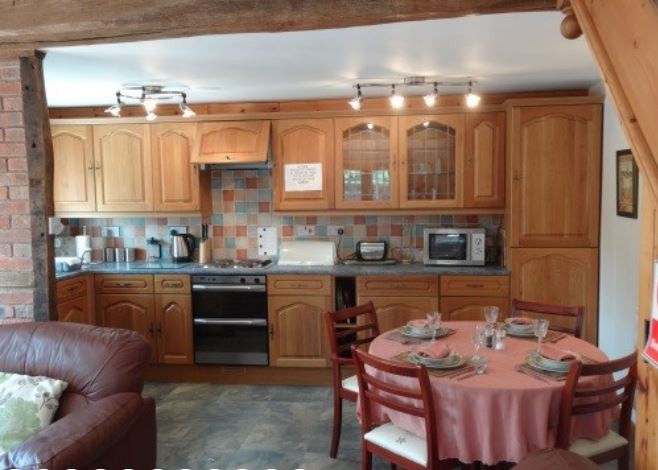 Kitchen in holiday cottage near Ledbury