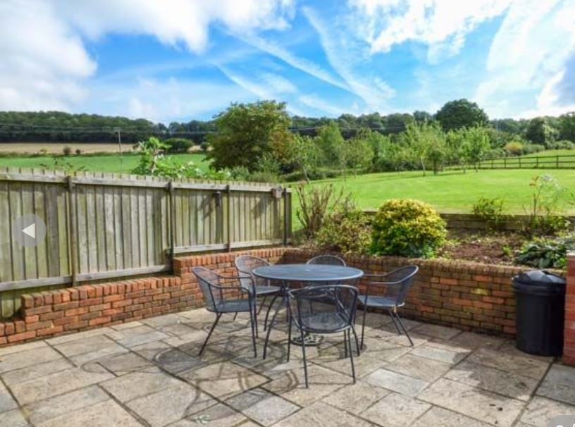 Patio at holiday home near Ledbury